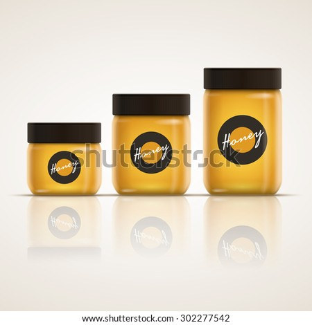 Vector realistic illustration of honey or jam jar collection. Yellow is global color. Easy editable. CMYK mode. Print ready.  - stock vector