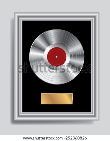 vector realistic illustration of the blank platinum LP in silver frame - stock vector