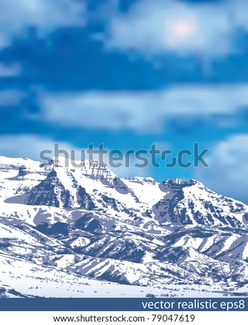 vector realistic illustration of the mountain in snow - stock vector