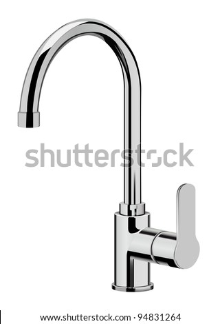 vector realistic kitchen tap on white background, raster version available - stock vector