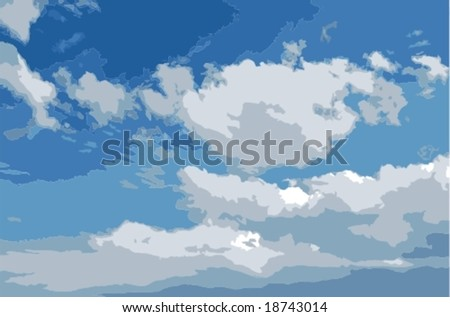 Vector: realistic looking cloudy sky. Layered per color for easier editing. No gradients used.