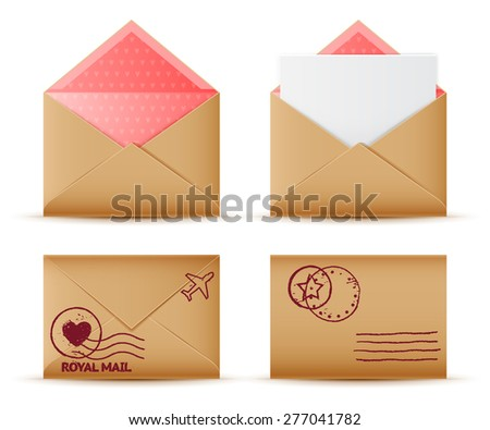 Vector realistic mail envelope set, letter and postal stamps, postal message icon - stock vector