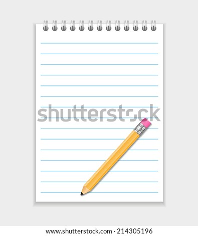 Vector Realistic Notepad With Pencil - stock vector