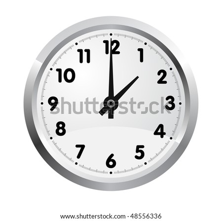 Vector realistic office clock isolated on white background - stock vector