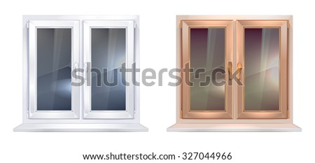 vector realistic picture set of white and brown plastic windows isolate on white background - stock vector