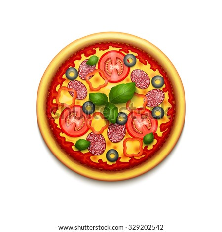 Vector realistic pizza icon with cheese, cherry tomatoes and basil. Italian pizza icon isolated on white background