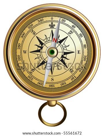 Vector realistic represented compass - stock vector