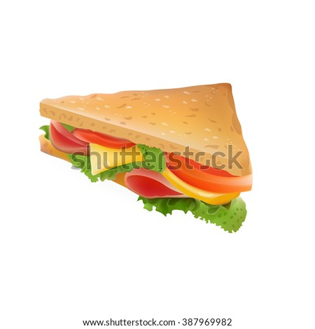 Vector Realistic Sandwich Icon Illustration . Isolated On White Background