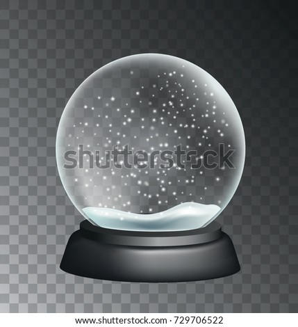 Vector realistic snow globe illustration isolated on transparent background
