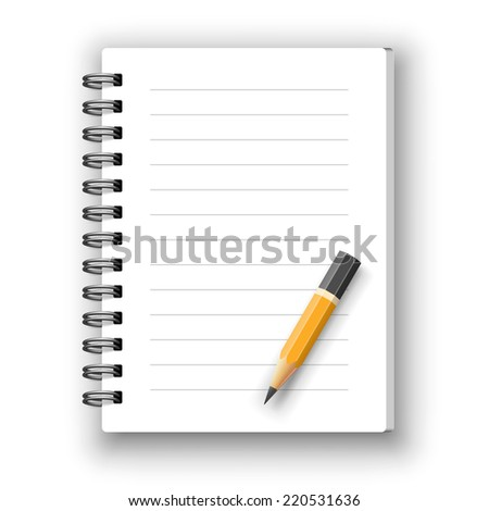 Vector realistic spiral notebook and detailed pencil - stock vector