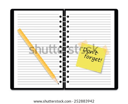 Vector realistic spiral notebook and pencil - stock vector