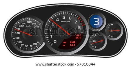 Vector realistic sport car's dashboard - stock vector