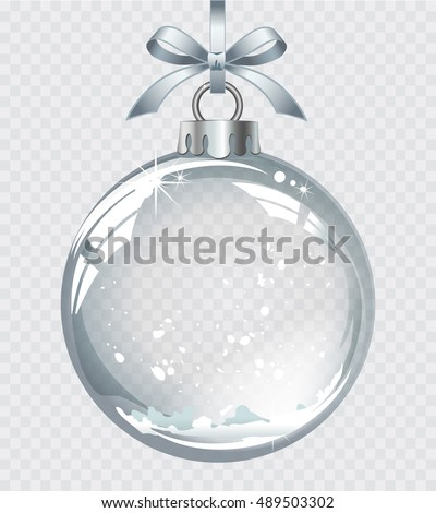 Vector realistic transparent silver Christmas ball with snow on a light abstract background
