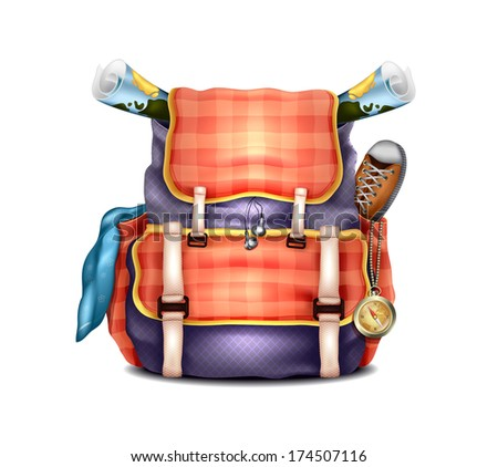Vector Realistic Travel Backpack - stock vector