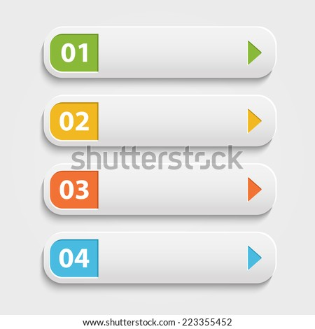 Vector  realistic  Web buttons,infographic with numbers over white - stock vector