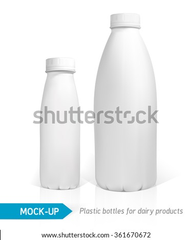 Vector realistic white plastic bottle for dairy products, juice or milk. Mock-up packages - stock vector