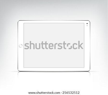 vector realistic white tablet pc, apple ipad air 2 with empty screen isolated. Mock up - stock vector
