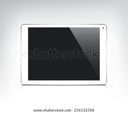 vector realistic white tablet pc, ipad with empty screen isolated  - stock vector