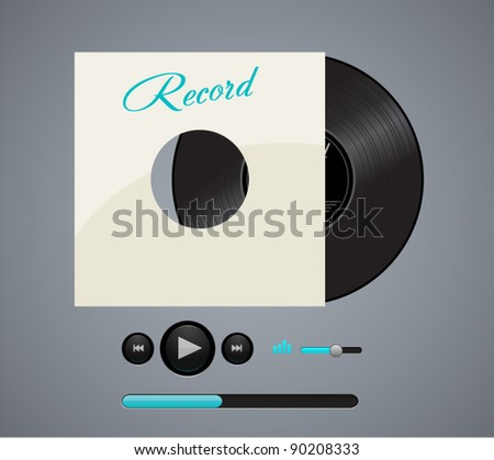 Vector record disk with audio music player - stock vector