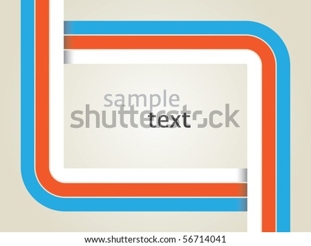 Vector rectangle for text, three color line as frame, shadow at line cross - stock vector