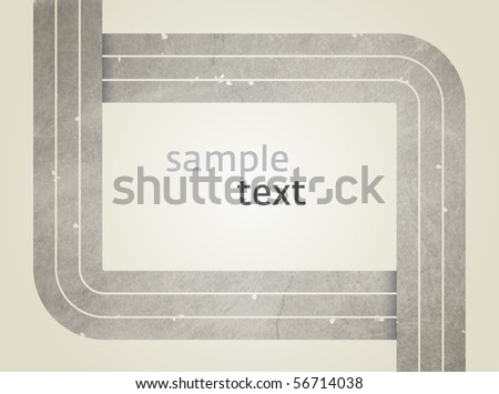 Vector rectangle for text, three grey lines as frame with grunge effect