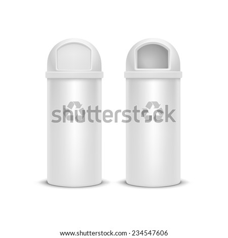 Vector Recycle Bin for Trash and Garbage Isolated on White Background - stock vector