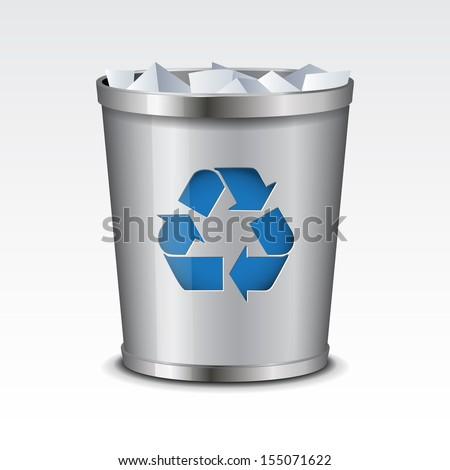 Vector Recycle Bin Icon - stock vector