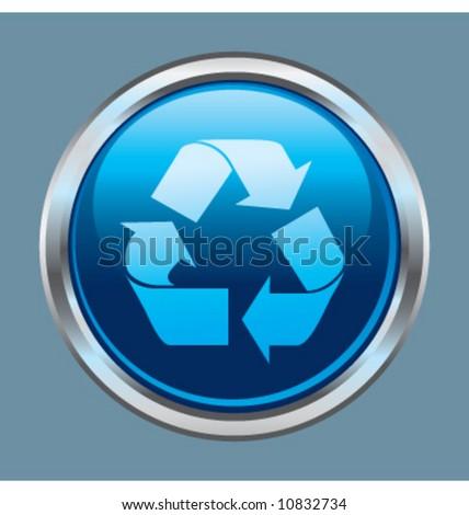 Vector recycle button icon symbol - stock vector