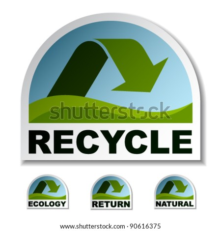 vector recycle green arrow stickers - stock vector