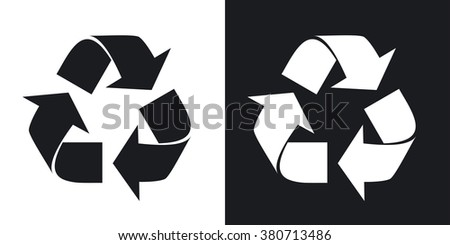 Vector recycle sign or icon. Two-tone version on black and white background - stock vector