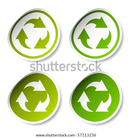 vector recycle stickers - stock vector