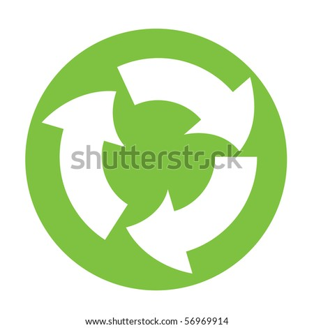 Vector recycle symbol in green circle - stock vector