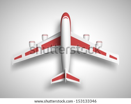 Vector red airplane top view. - stock vector