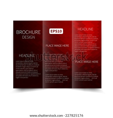 Vector red and black tri-fold brochure design template with abstract background EPS 10 Tri-Fold Mock up & back Brochure Design  - stock vector