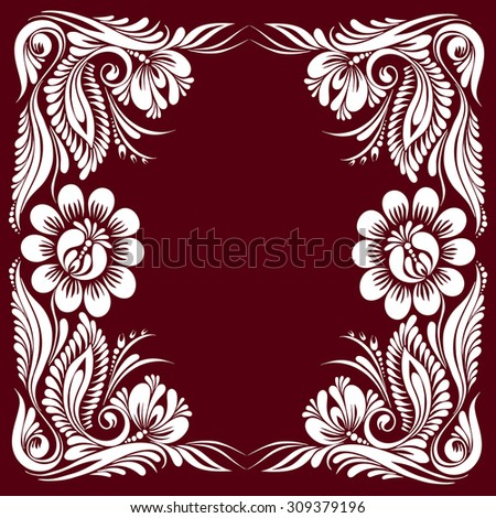 vector red and white pattern with flowers, an ethnic Ukrainian ornament, Decorative frame corner,  - stock vector