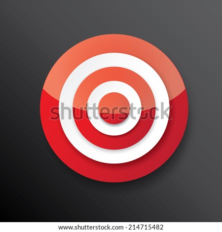 vector red and white target icon on black. vector glossy target symbol design element - stock vector