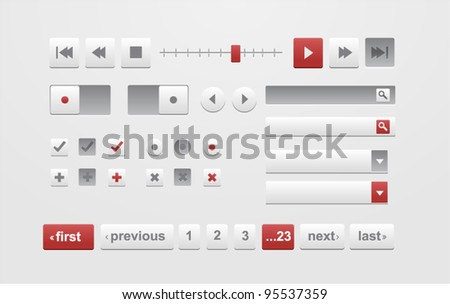 Vector red and white web elements and pagination bar - stock vector