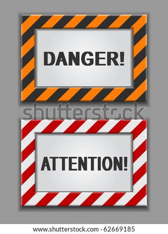vector red and yellow warning signs on a grey background - stock vector