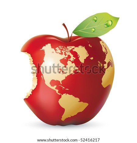 Vector red apple earth - stock vector