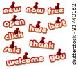 vector red attached promotional stickers - stock photo