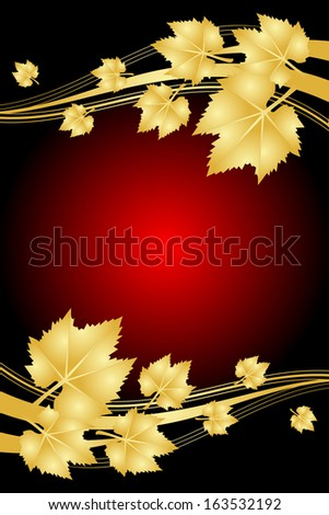 Vector red background with gold leaves - stock vector