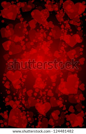 Vector red background with hearts - stock vector