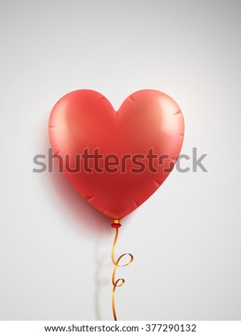 Vector red balloons in the shape of a heart on white background. - stock vector