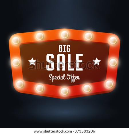 Vector red banner with text Big Sale, Billboard in retro style with bulbs on dark background