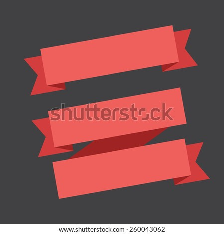 vector red banners ribbons on a black background. - stock vector