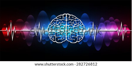 vector red blue purple brain processes technology, creative idea concept. wave. ecg, ekg, electrocardiogram. - stock vector