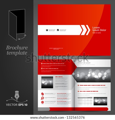 Vector red brochure template design with white arrow. EPS 10 - stock vector