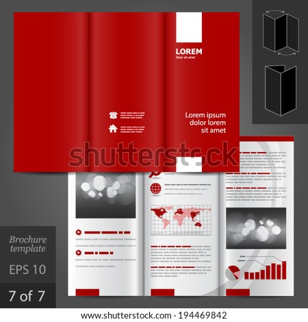 Vector red brochure template design with white square elements. EPS 10 - stock vector
