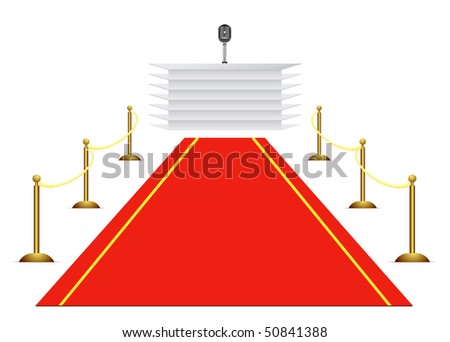 Vector red carpet to tribune on white background