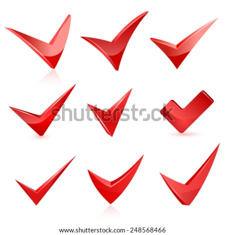 Vector red check mark set - stock vector